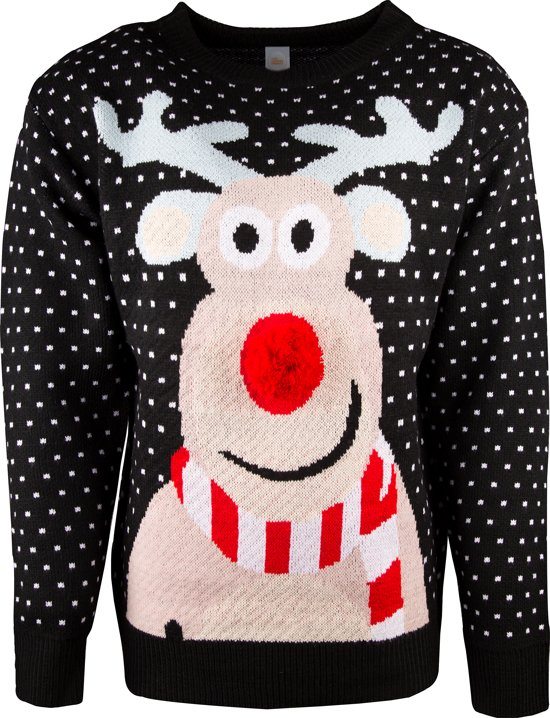 Zwarte uniseks kersttrui met tricot manchetten aan de hals, mouwen en taille. De kersttrui is versierd met witte stippen en een print van Rudolf op de voorzijde met een rode 3D neus.