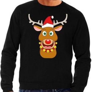 Zwarte heren kersttrui met een afbeelding van een vrolijke Rudolf met kerstmuts.