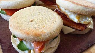 弁当LOG 20171117 イングリッシュマフィンのサンドイッチ