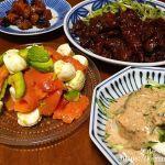 #夕飯LOG ハラミの味噌炒めとアボカドとサーモンのサラダ