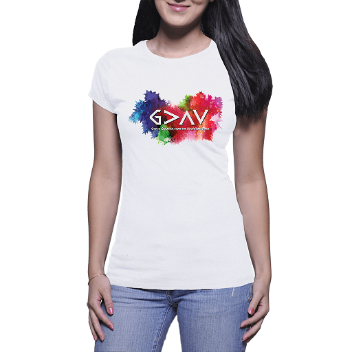 God is Greater tan the Highs and Lows Ladies Comb Cotton T-shirts White