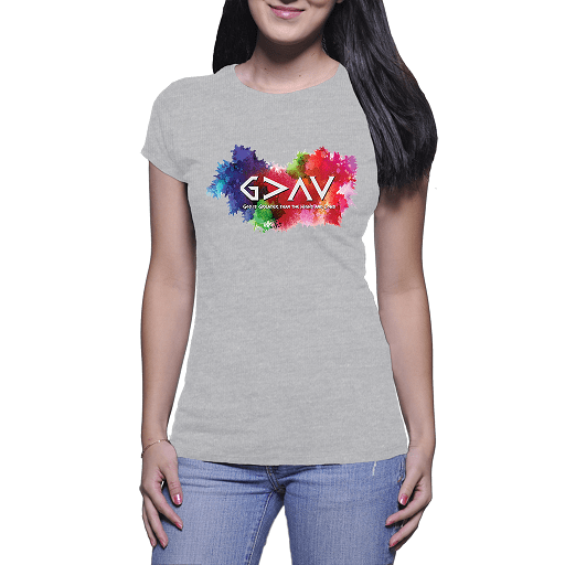 God is Greater than the Highs and Lows Ladies Comb Cotton T-shirts Grey