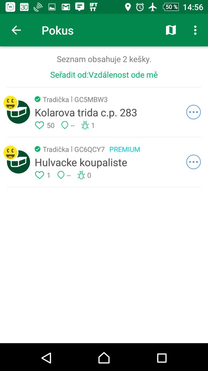 Kešky dostupné offline