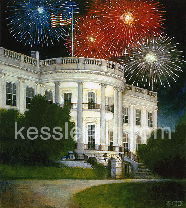 White House with Fireworks