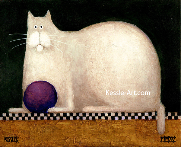 White Cat with Purple Ball