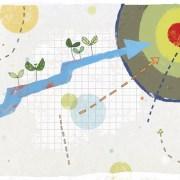 Abstrakti piirros, jossa maalitaulu sekä nuolia.