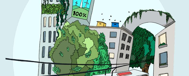 Piirroskuva kaupunkinäkymästä, jossa rakennuksia, linja-auto sekä puita.