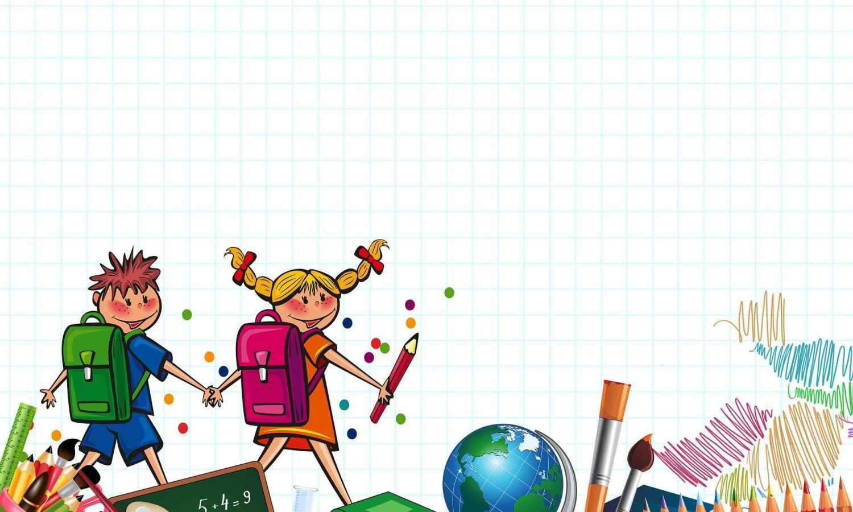 Piirroskuva, jossa ruutupaperitausta. Etualalla poika ja tyttö käsikädessä reput selässä. Kuvan alaosassa koulutarvikkeita kyniä, harppi, kirjoja, maapallo, siveltimiä.