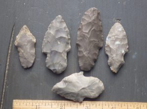 Collection of 5 Adena Arrowheads  -Reserved