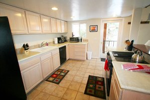 Large kitchen with lots of small appliances