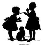 silhouette of two girls tasting something with a cat looking on