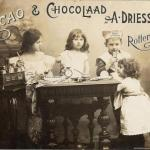 Dutch advertisement from 1899 with children around a table sharing chocolate