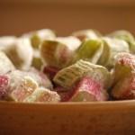 a dish of rhubarb