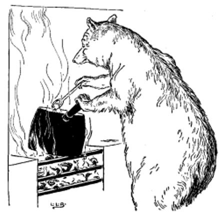 a bear stirring a pot