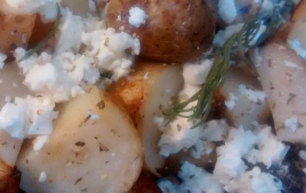 Lemon Rosemary Roasted Potatoes with Feta
