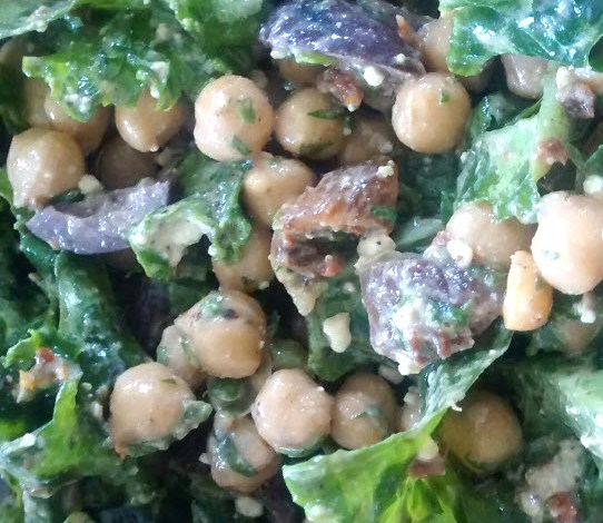 Kale, Fig and Chickpea Salad with Olives and Feta