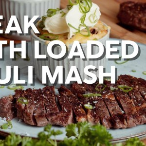 Steak with loaded cauli mash