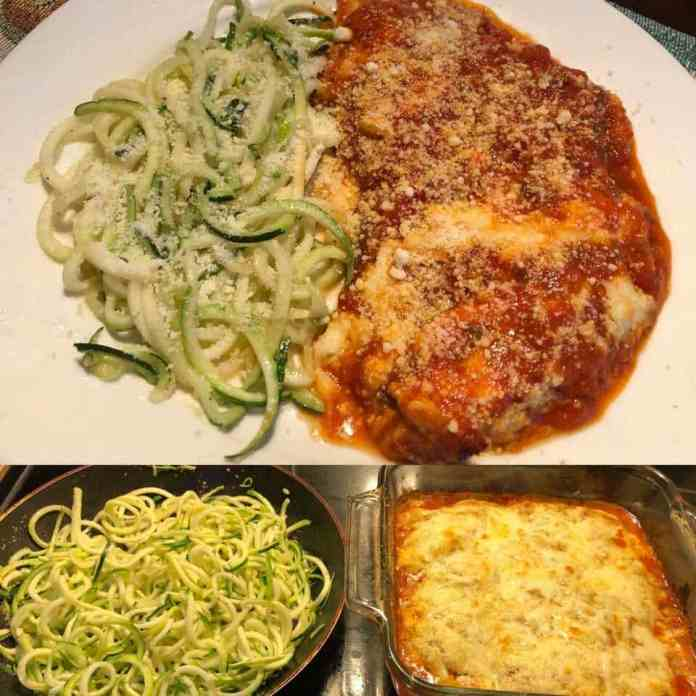 Keto Mozzarella Parmesan Chicken Bake with Zucchini Noodles