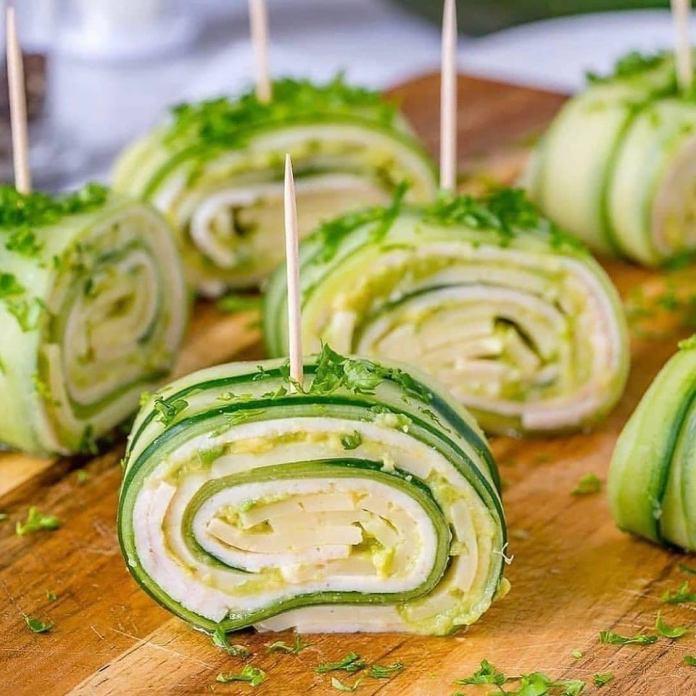 Turkey + Cheese Cucumber Rolls