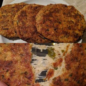 Spinach and cheese stuffed cauliflower patties
