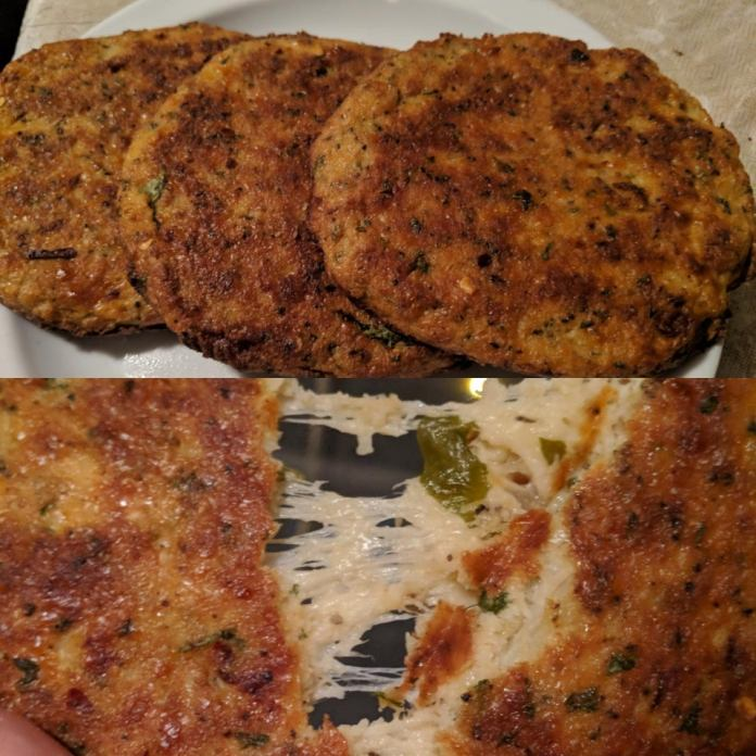 Spinach and cheese stuffed cauliflower patties