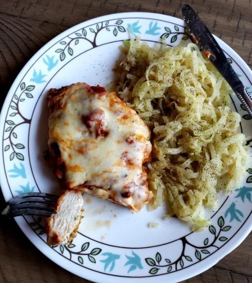Chicken parmesan and kohlrabi
