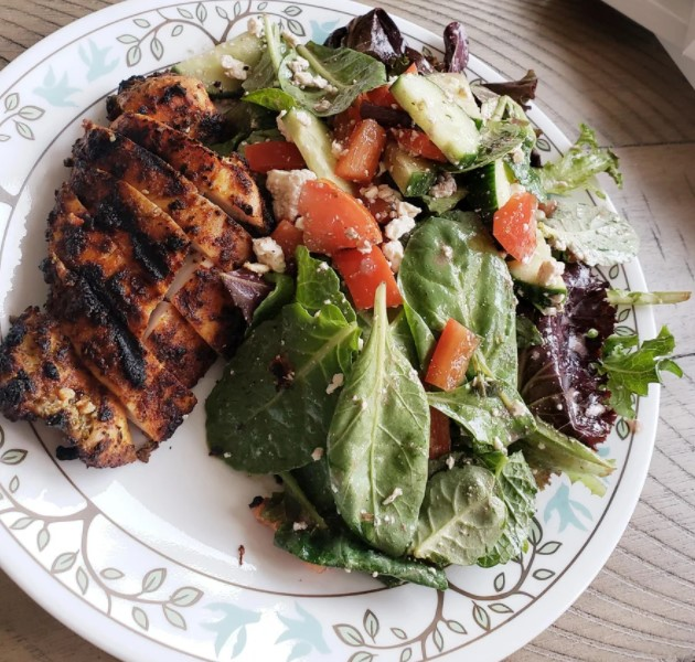 Greek chicken and salad