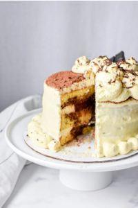 Keto Tiramisu Layer Cake with Chocolate Filling