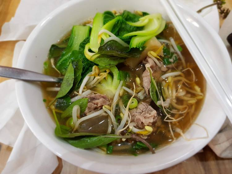 Pho beef soup mixed