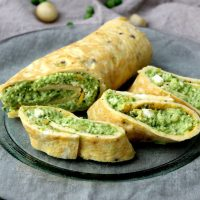 Kale Avocado Pesto Omelet Wraps