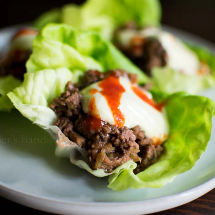 Asian Lettuce Wraps with Ginger Peanut Sauce -by amber's hands-