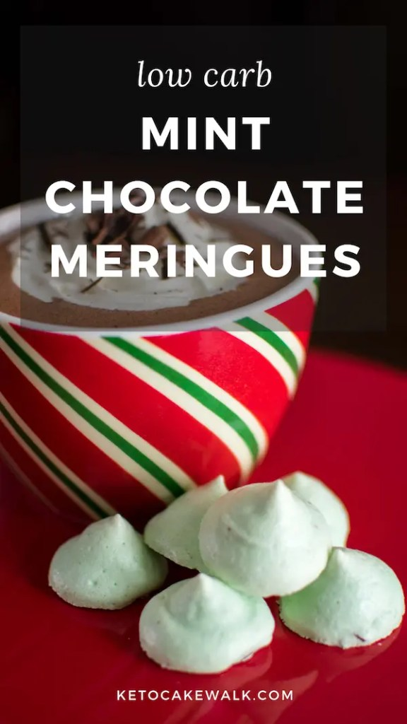These forgotten kisses are remade into a low carb Christmas cookie that's sure to delight even your non-keto friends! Light and crisp, these mint chocolate cookies are a perfect finish to your holiday dinner. #keto #lowcarb #christmas #cookies #holiday #meringues #sugarfree
