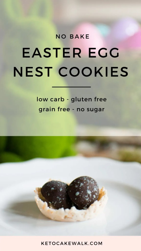 Low Carb Easter Egg Nest Cookies! No bake and super easy, with no sweetener needed! #nobake #lowcarb #keto #easter #cookies #candy #treats #glutenfree #grainfree