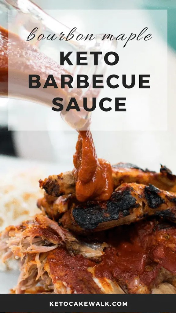 Making your own bbq sauce without the sugar and carbs is so easy with this bourbon maple keto bbq sauce! #keto #lowcarb #bbq #sauce #condiments #bourbon #maple #glutenfree #grainfree #sugarfree