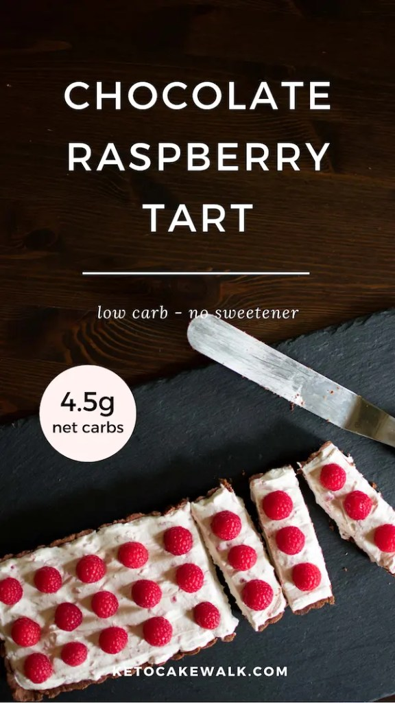 This chocolate raspberry tart is lightly sweet with a chocolate crust and raspberry mascarpone filling. Low carb without any sweeteners! #lowcarb #keto #raspberry #chocolate #tart #dessert #easy #glutenfree #grainfree