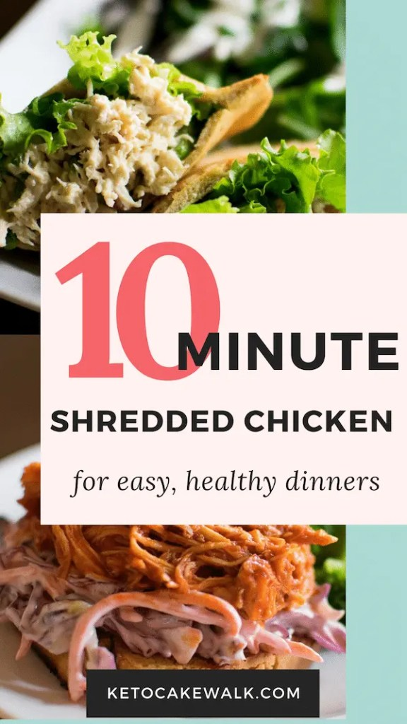 This shredded chicken can be made straight from frozen chicken with only ten minutes in the instant pot! #instantpot #chicken #shreddedchicken #easy #healthy #lowcarb #keto #freezertoinstantpot #dinner