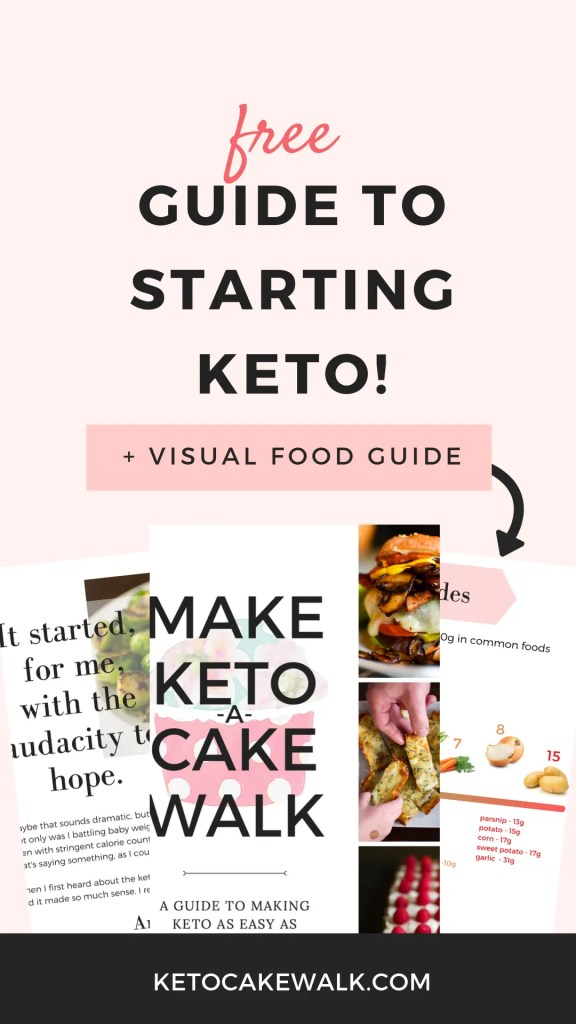 Want to start a keto diet but don't know where to start?  Get this free guide right now with 15 pages of tips and tricks plus visual food guides to help you on your journey! #keto #diet #easy #guide #free