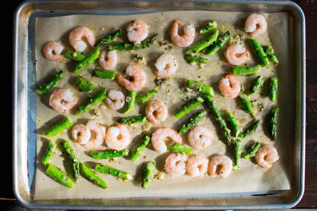 Shrimp and Asparagus Scampi Sheet Pan -keto cake walk-