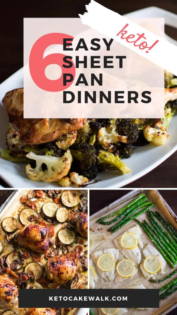 These six easy keto sheet pan dinners will make your weeknights so much easier! Simplify your keto diet! #keto #lowcarb #sheetpan #dinner #easy #glutenfree #grainfree #fast #quick