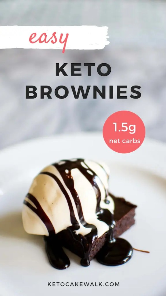 These keto brownies are so easy and only 1.5g net carbs per piece! Dark chocolatey, fudgy, chewy brownies that will make your mouth happy. #lowcarb #keto #brownies #easy #fudgy #chewy #desserts #bars #glutenfree #grainfree #sugarfree