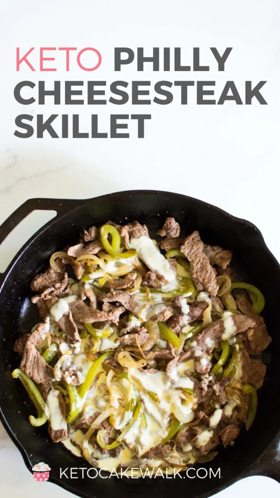 Super easy keto Philly Cheesesteak skillet comes together super quickly and has only 6g net carbs! #keto #lowcarb #phillycheesesteak #bowl #skillet #easy #dinner #weeknight #glutenfree #grainfree