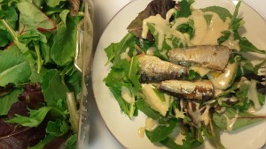 Baby Greens, Lowest Carb Caesar Dressing, and Sardines