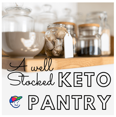 Shelf stable keto baking ingredients in jars on a pantry shelf.