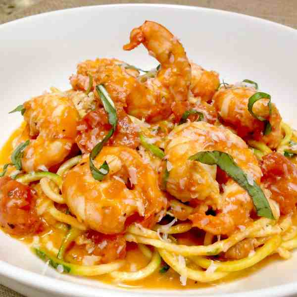 Shrimp alla Vodka over Zoodles - Keto and Low Carb