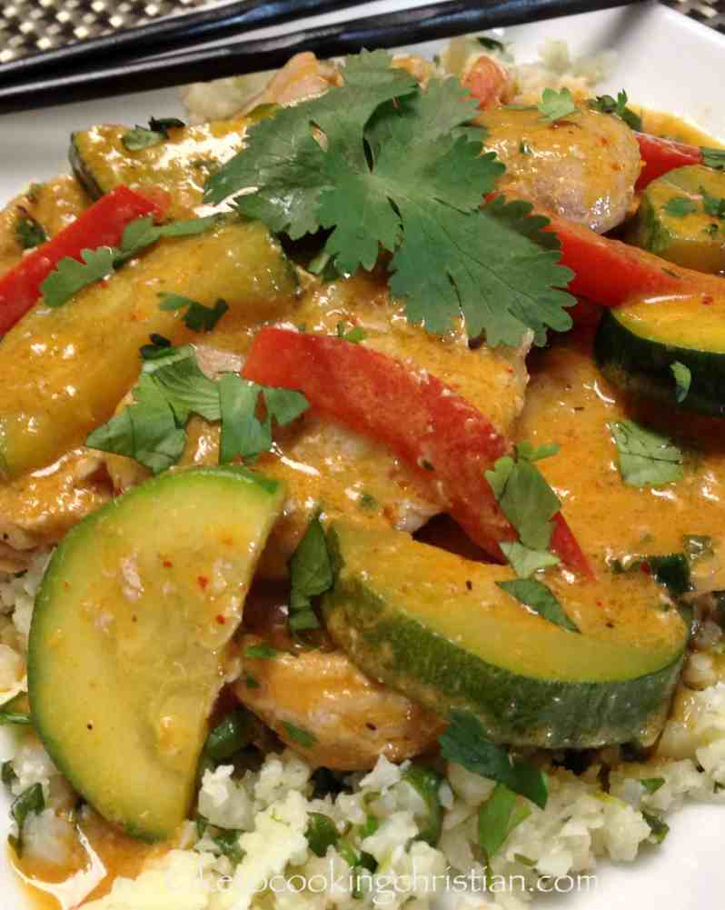Thai Red Coconut Curry Pork with Cilantro Lime Cauliflower Rice - Keto & Low Carb