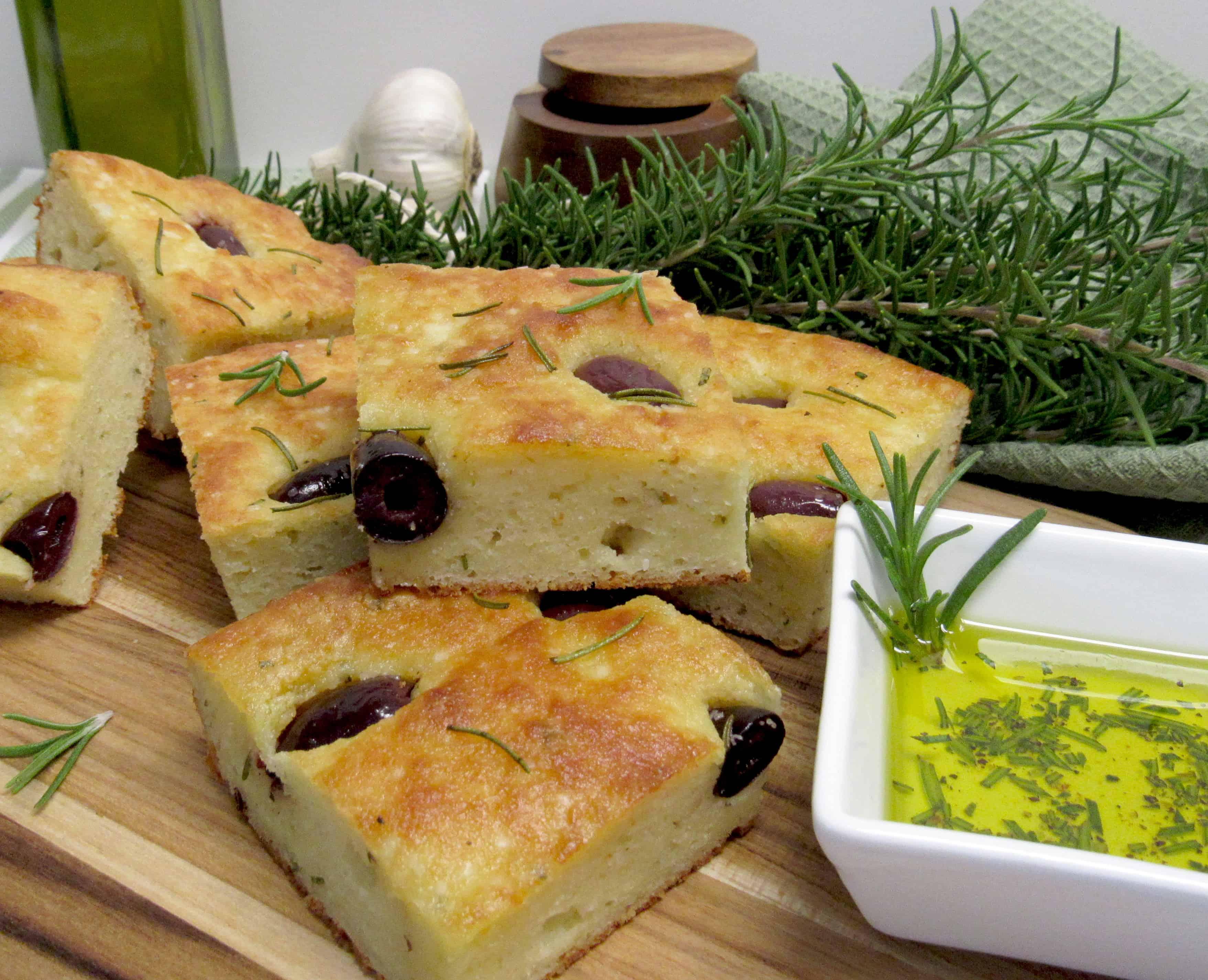 Rosemary and Kalamata Olive Focaccia - Keto, Low Carb & Gluten Free
