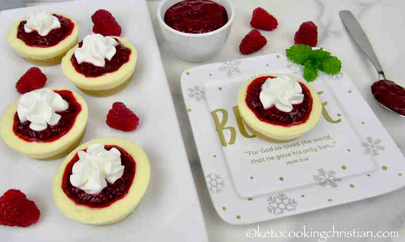 Mini Cheesecakes with Raspberry Sauce - Keto, Low Carb & Gluten Free