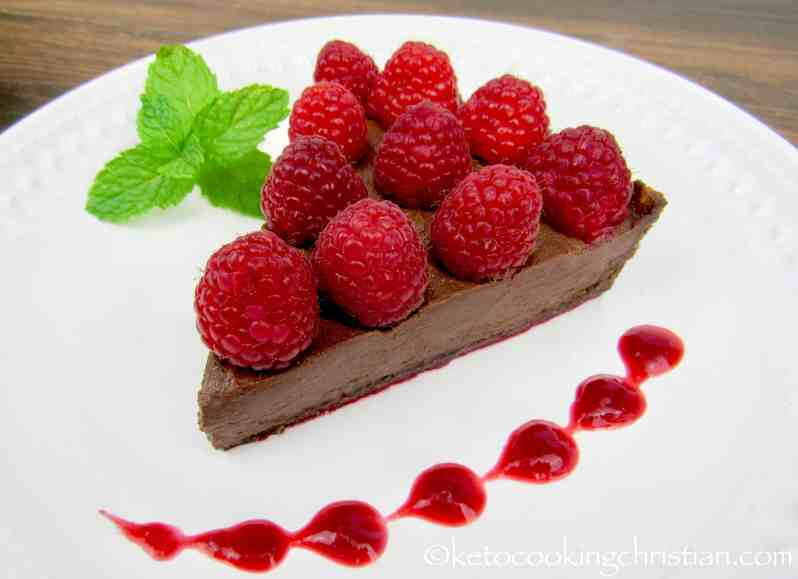 No-Bake Chocolate Raspberry Tart - Keto, Low Carb & Gluten Free