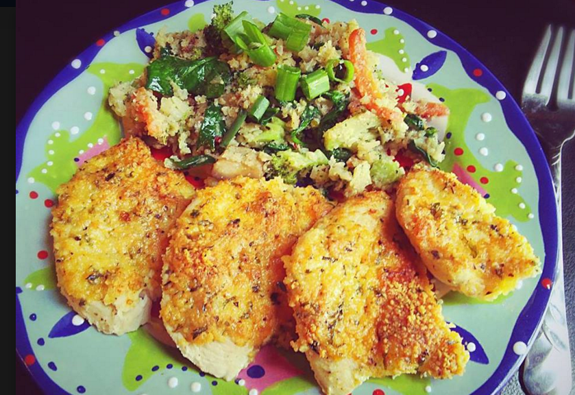Keto parmesan chicken with cauliflower rice