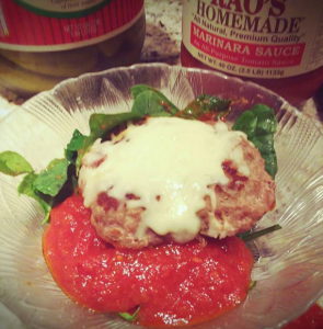 Simple Keto Sample Meal Burger on Spinach Bed with Marinara